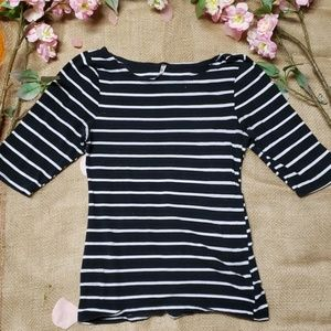 Heart & Hips - Black and White Strip 3/4 Sleeve